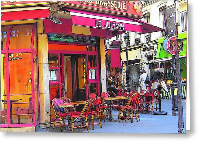 Corner Cafe In Montmartre Paris Greeting Card by Jan Matson