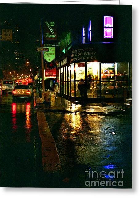 Greeting Card featuring the photograph Corner In The Rain by Miriam Danar