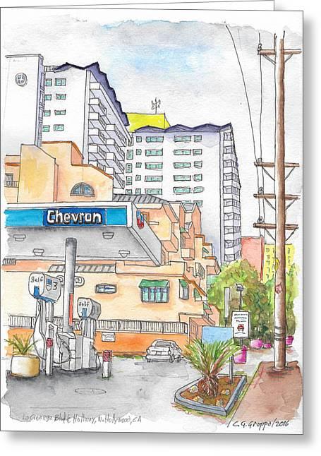 Corner La Cienega Blvd. And Hallway, Chevron Gas Station, West Hollywood, Ca Greeting Card by Carlos G Groppa