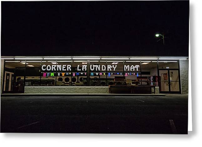 Corner Laundry Mat Greeting Card by Cindi Poole