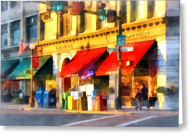 Corner Of Center And Merchant Rutland Vt Greeting Card by Susan Savad