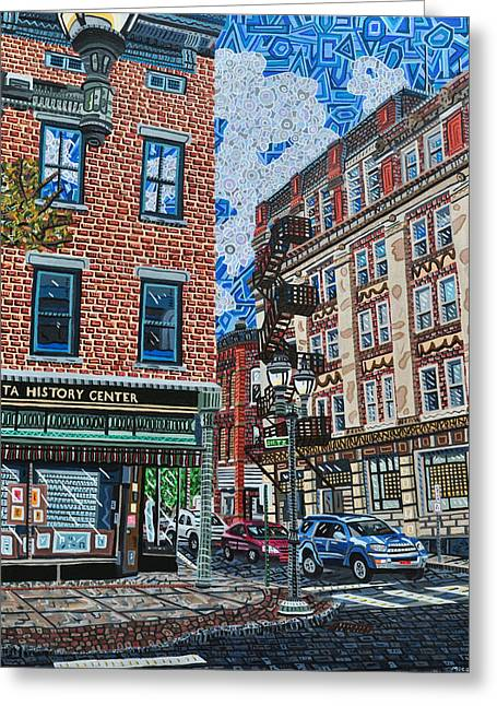 Corner Of Dietz And Main Oneonta Ny Greeting Card by Micah Mullen