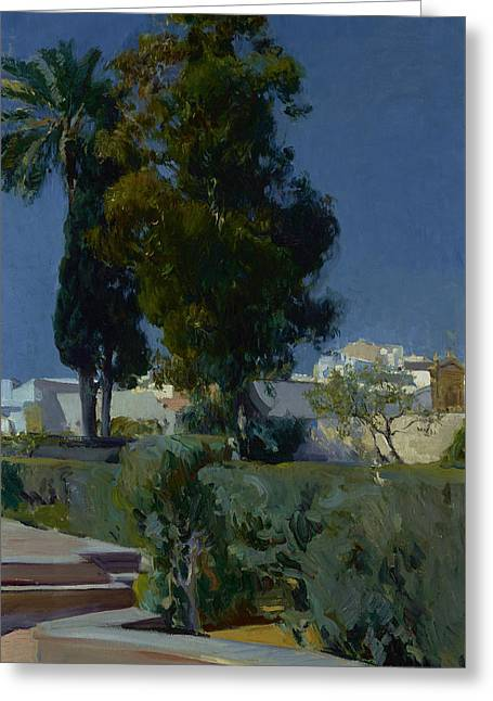 Corner Of The Garden, Alcazar, Sevilla Greeting Card by Joaquin Sorolla