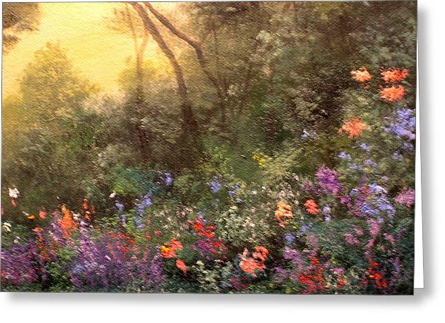 Corner Of The Garden Greeting Card by Connie Tom