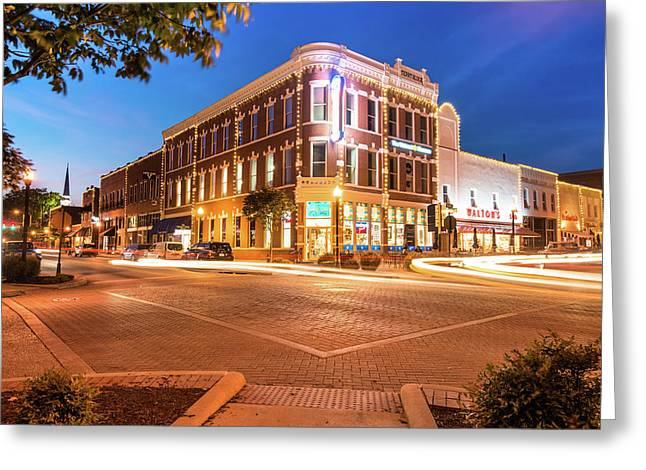 Corner View - Downtown Bentonville Arkansas Town Square At Night Greeting Card by Gregory Ballos
