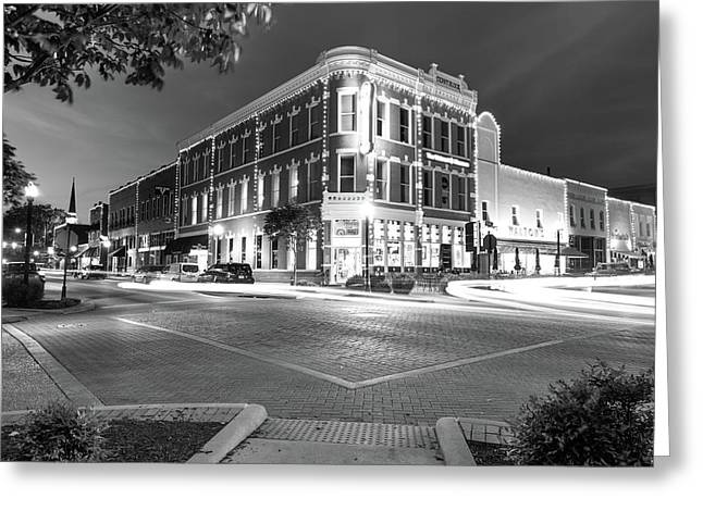 Corner View In Black And White- Downtown Bentonville Arkansas Town Square At Night Greeting Card by Gregory Ballos