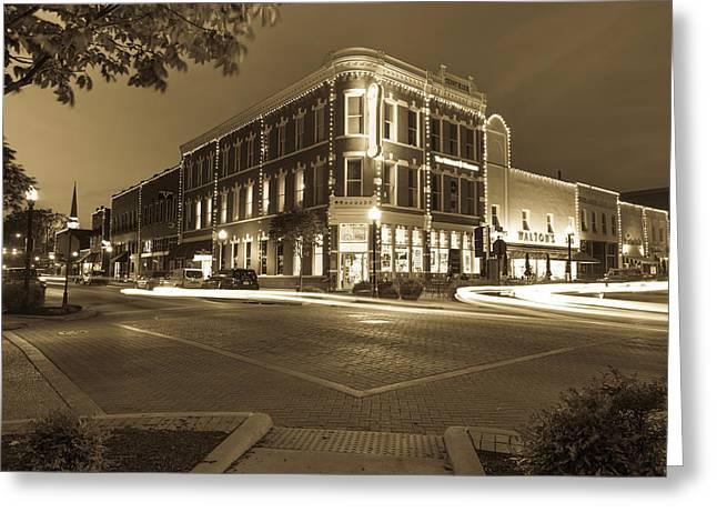 Corner View In Sepia- Downtown Bentonville Arkansas Town Square At Night Greeting Card