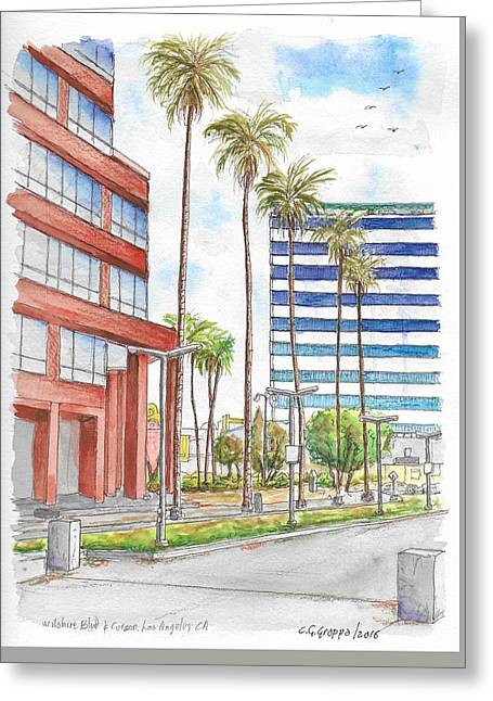 Corner Wilshire Blvd. And Curson, Miracle Mile, Los Angeles, Ca Greeting Card