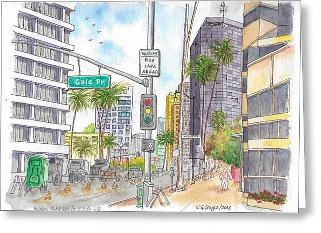 Corner Wilshire Blvd. And Gale Dr., Beverly Hills, Ca Greeting Card