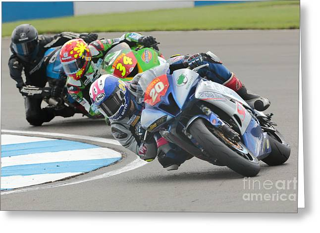 Cornering Motorcycle Racers Greeting Card by Peter Hatter