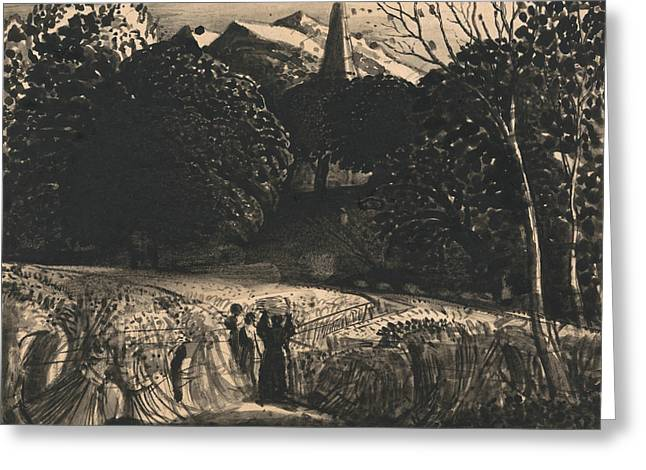 Cornfield And Church By Moonlight Greeting Card by Samuel Palmer