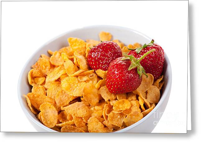 Cornflakes And Three Fresh Strawberries In Bowl  Greeting Card by Arletta Cwalina