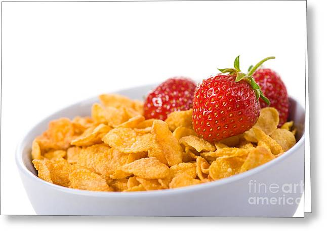 Cornflakes With Three Fresh Strawberries In Bowl  Greeting Card