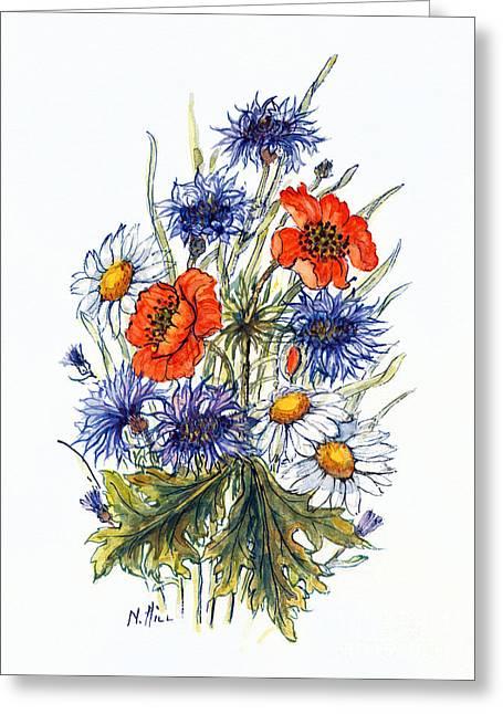Cornflower, Poppy And Ox Eye Daisy Greeting Card