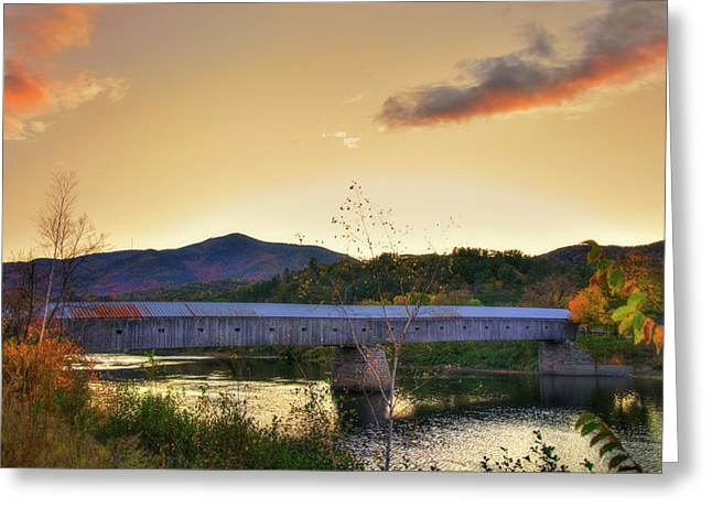 Cornish Windsor Covered Bridge In Autumn Greeting Card by Joann Vitali