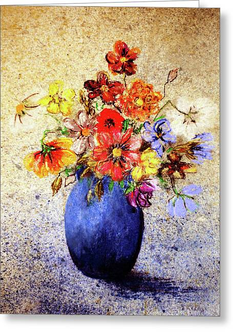 Cornucopia-still Life Painting By V.kelly Greeting Card