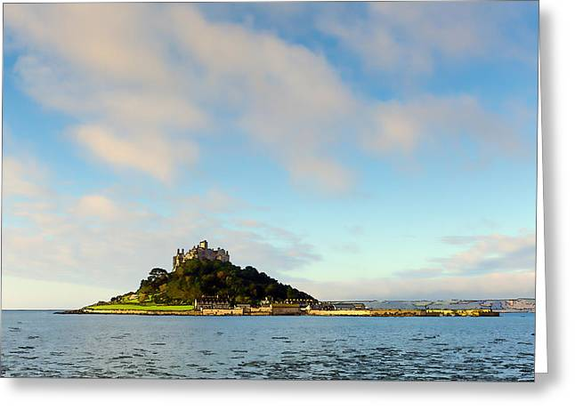 Cornwall Tourist Attraction St Michaels Mount Cornwall England Uk Medieval Castle Greeting Card