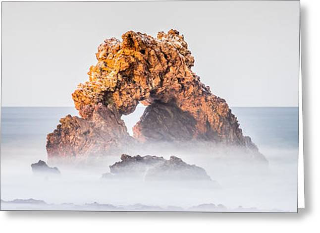 Corona Del Mar Arch Rock Panorama Photo Greeting Card