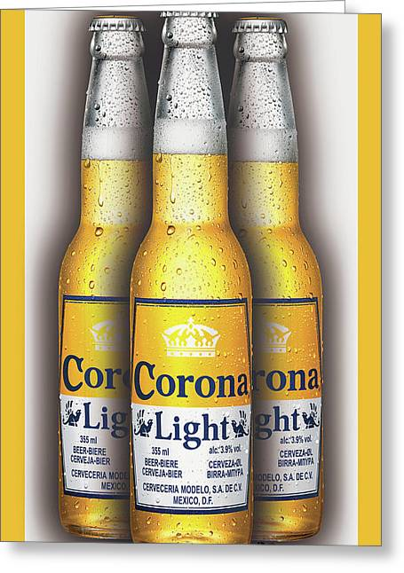Corona Light Bottles Painting Collectable Greeting Card by Tony Rubino