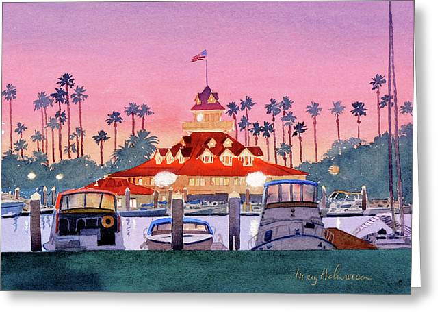 Coronado Boathouse After Sunset Greeting Card