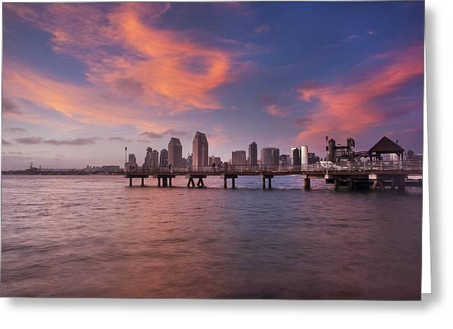 Coronado Ferry Landing Sunset Greeting Card by Scott Cunningham