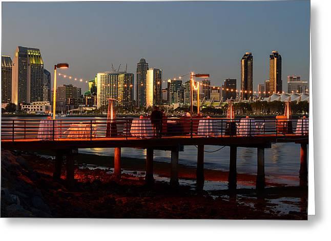 Coronado Island Marriot Resort And Spa Pier Greeting Card by Robert VanDerWal