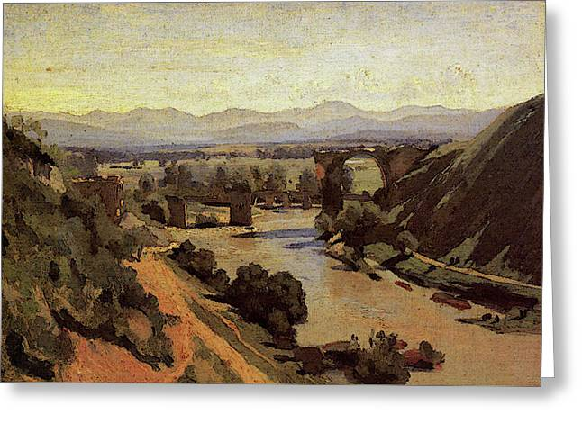 Corot The Augustan Bridge At Narni Greeting Card by Jean Baptiste Camille Corot