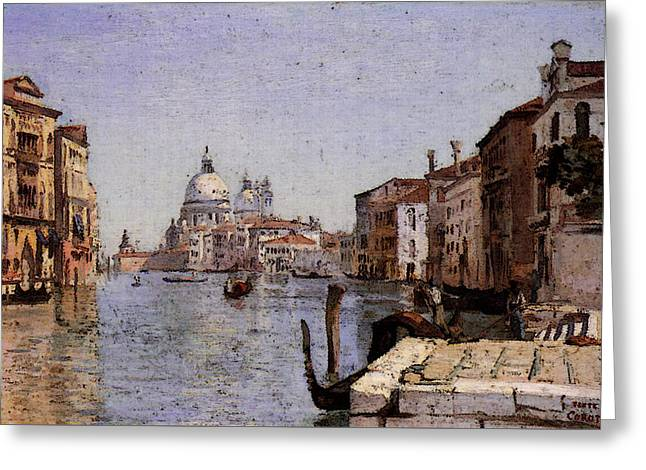 Corot Venice View Of Campo Della Carita From The Dome Of The Salute Greeting Card