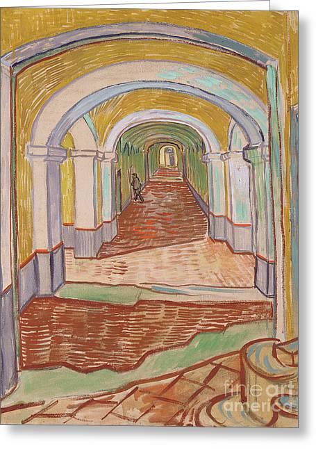 Corridor In The Asylum, September 1889 Greeting Card by Vincent van Gogh