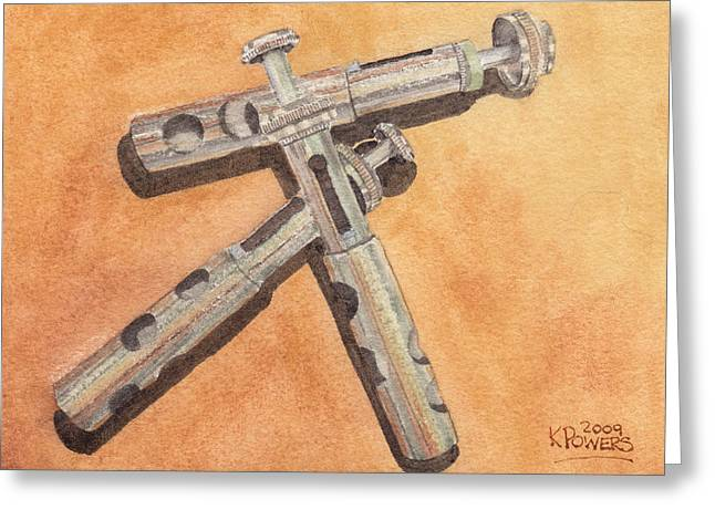 Corroded Trumpet Pistons Greeting Card by Ken Powers