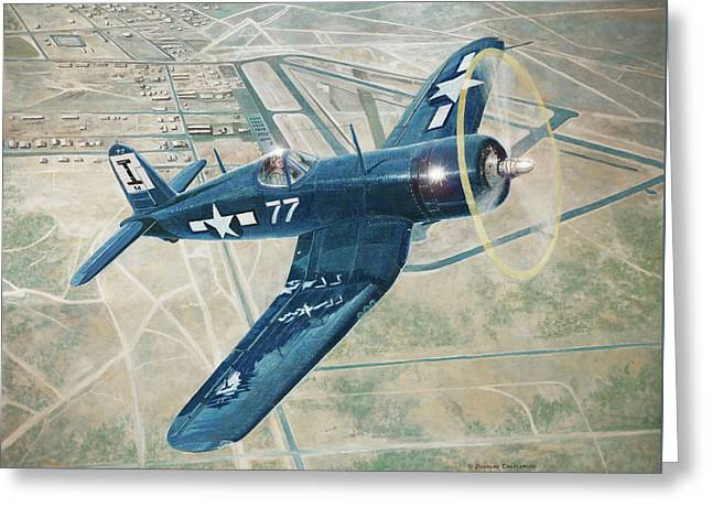 Corsair Over Mojave Greeting Card