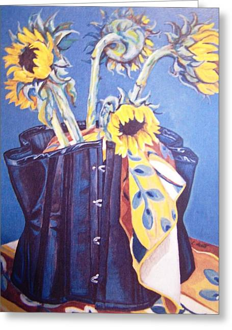 Corset And Sunflowers Greeting Card