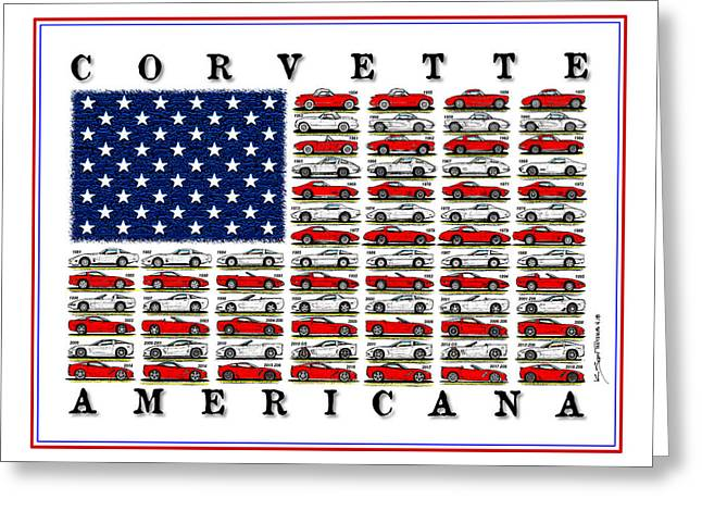 Corvette American Flag Greeting Card