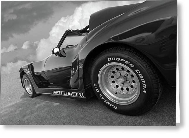 Greeting Card featuring the photograph Corvette Daytona In Black And White by Gill Billington