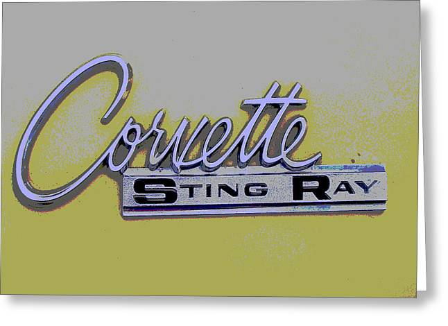 Corvette Emblem Greeting Card by Audrey Venute