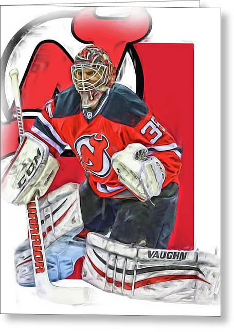 Cory Schneider New Jersey Devils Oil Art Greeting Card