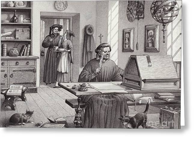 Cosimo Medici Sitting In His Home In Florence Greeting Card by Pat Nicolle