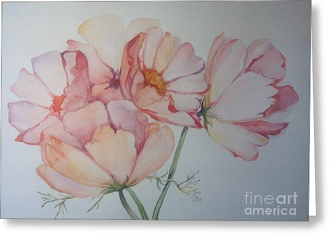 Greeting Card featuring the painting Cosmea by Iya Carson
