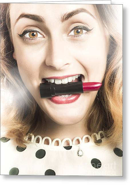 Cosmetic Pin Up With Lipstick Smile Greeting Card
