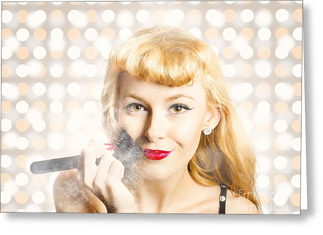 Cosmetics Makeover Pin Up Greeting Card by Jorgo Photography - Wall Art Gallery