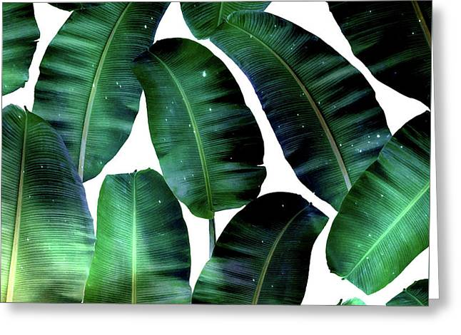 Cosmic Banana Leaves Greeting Card by Uma Gokhale