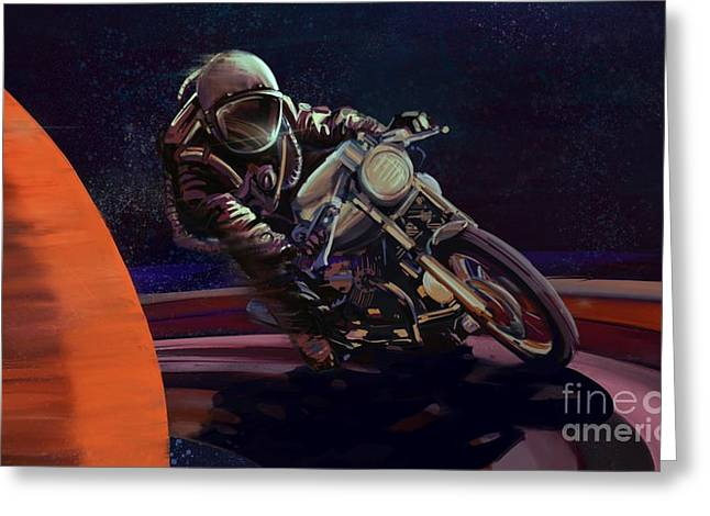 Cosmic Cafe Racer Greeting Card