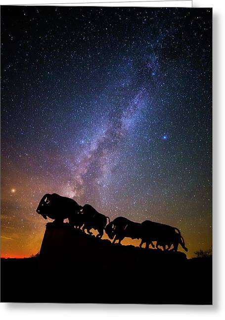 Greeting Card featuring the photograph Cosmic Caprock Bison by Stephen Stookey