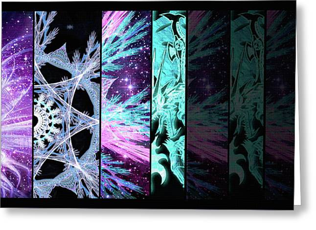 Greeting Card featuring the mixed media Cosmic Collage Mosaic Left Side Flipped by Shawn Dall