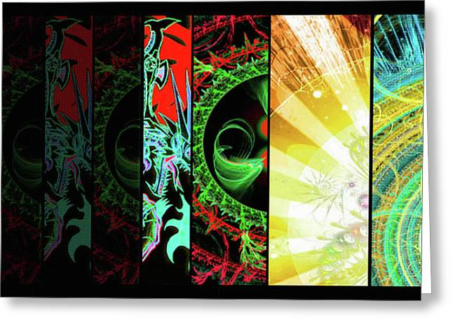 Greeting Card featuring the mixed media Cosmic Collage Mosaic Right Side Flipped by Shawn Dall