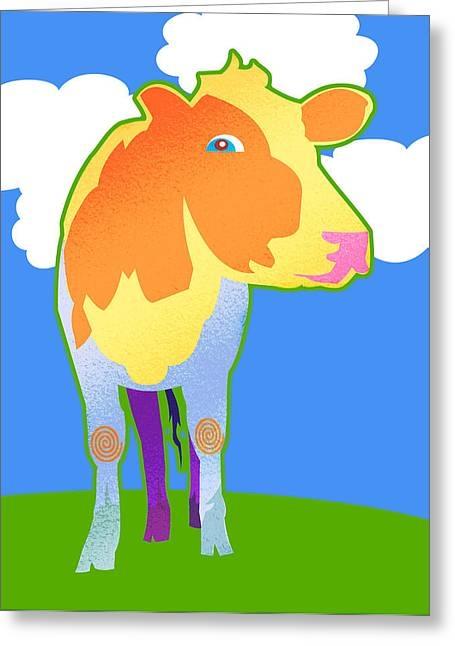 Cosmic Cow Greeting Card by Mary Ogle