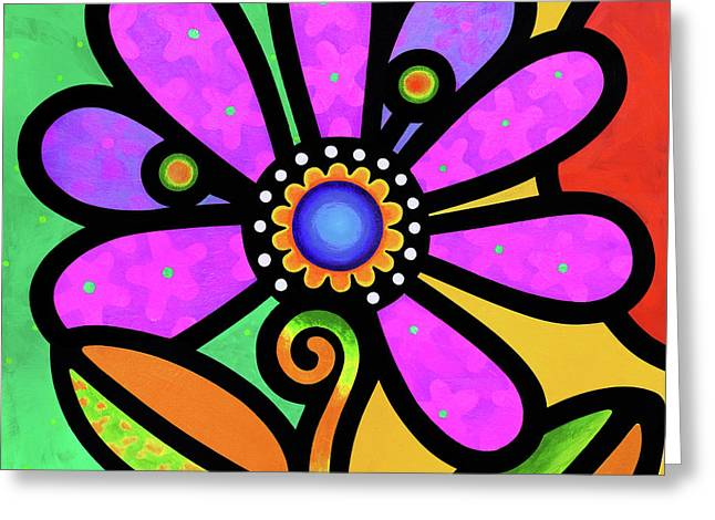 Cosmic Daisy In Pink Greeting Card