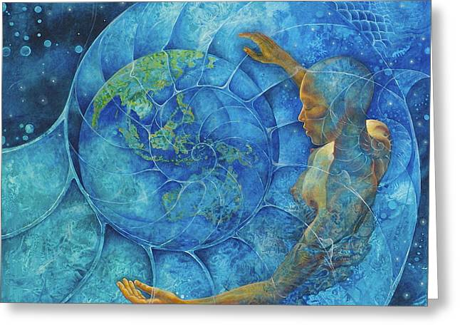 Cosmic Embrace Greeting Card by Melina Del Mar