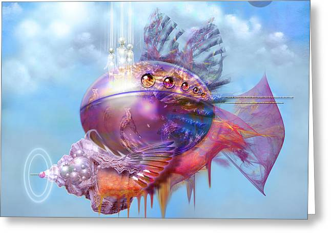 Cosmic Fish Spaceship Greeting Card by Alexa Szlavics