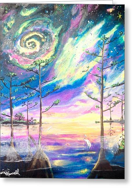 Greeting Card featuring the painting Cosmic Florida by Dawn Harrell